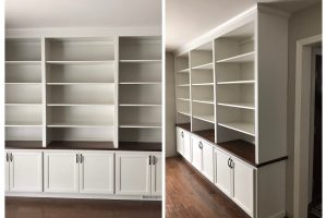 custom woodworking professional creates bookshelf